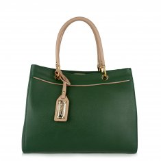 Avorio Nero - Green Leather Shopper
