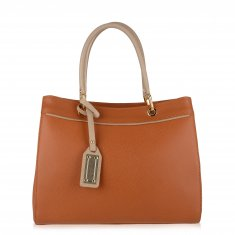 Avorio Nero - Orange Leather Shopper