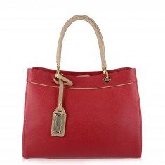 Avorio Nero - Shopper in pelle palmellata rossa