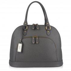 Avorio Nero - Large shoulder grey leather bag